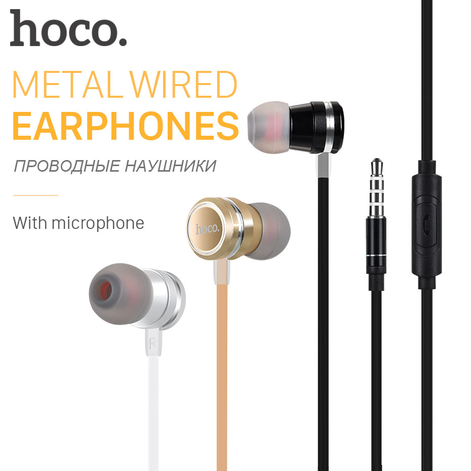 HOCO Metallic Universal Earphones with Mic Wired Headset 3.5mm Jack with Remote for Apple iPhone Samsung Xiaomi Earbuds in-Ear hoco high quality hd clear super bass stereo in ear wired earphones 3 5mm plug wired headset with mic for iphone xiaomi samsung