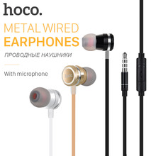 HOCO Metallic Universal Earphones with Mic Wired Headset 3.5mm Jack with Remote for Apple iPhone Samsung Xiaomi Earbuds in-Ear