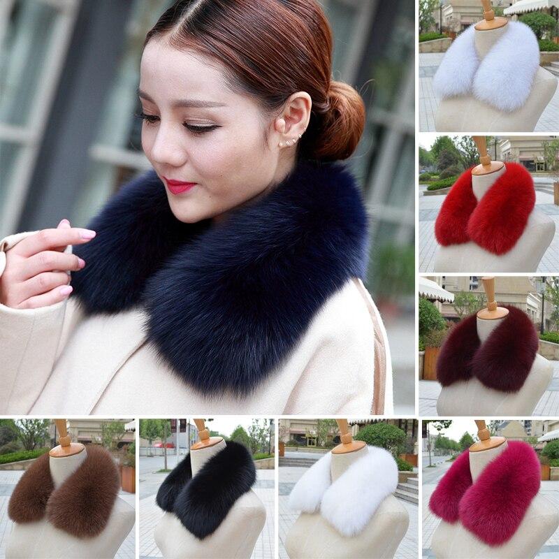100% Real Fur Genuine Whole Skin Blue Fox Fur Collars Natural Women Lady Real Fox Fur Collars Scarves Furry 48CM Length Fur Wrap