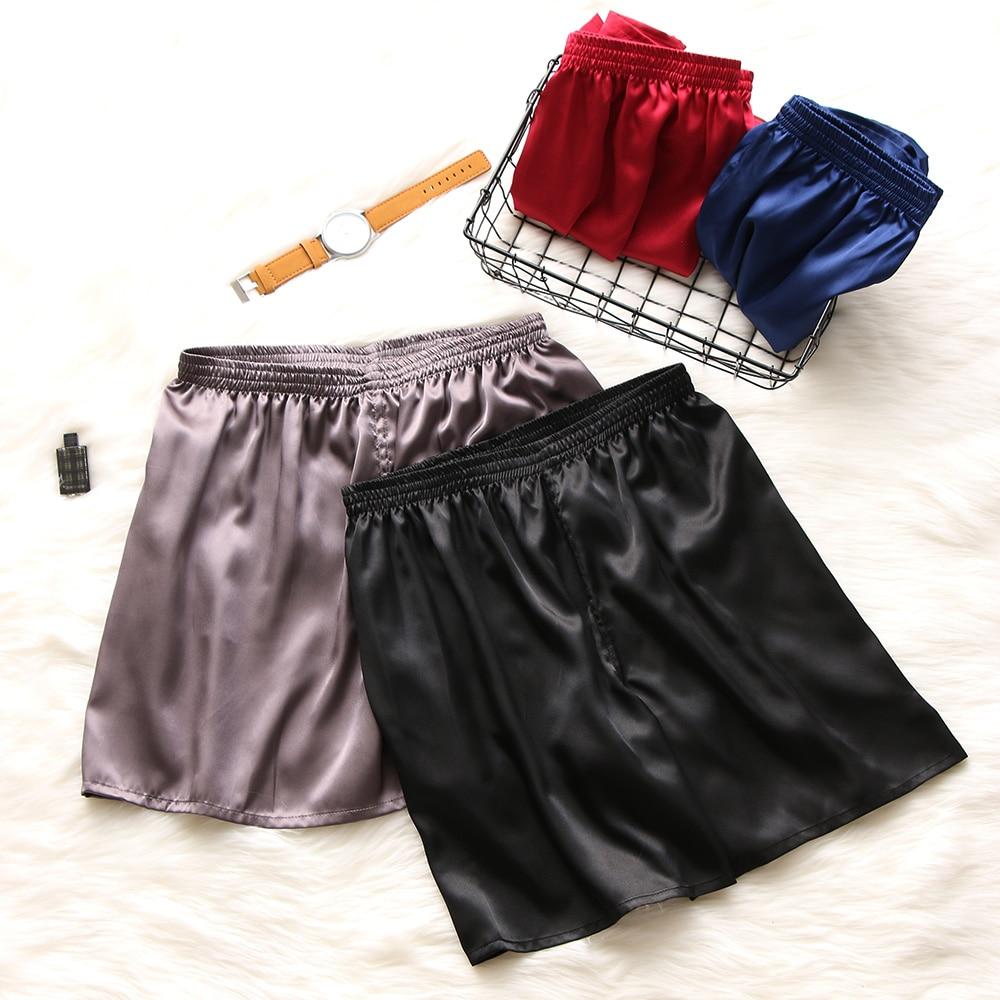 Summer Men Fashion Homewear Robes Shorts Pure Color Silk Satin Pajama Sleepwear Loungewear Underwear
