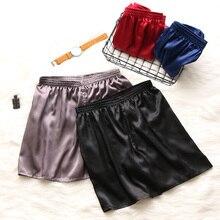 Летняя мужская модная Домашняя одежда, халаты, шорты, однотонные, шелковые, атласные пижамы, одежда для дома, нижнее белье