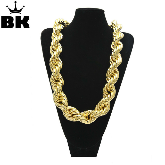 44e38d4f2e8 Silver MOQ 50PCS Hip Hop Oversize Rope Chain Men's Gold Silver Plated 24''  30