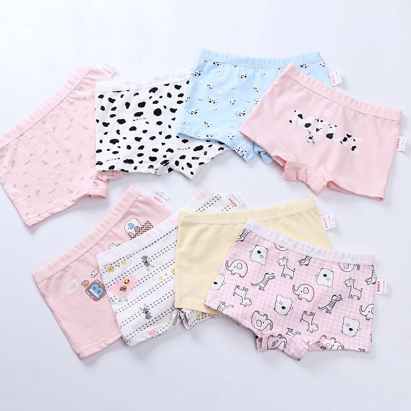 Kids Cotton Panties Girls Cute Cartoon Printed Boxer Shorts Teenage Girls Underwear Soft Children Panties Calcinha Infantil