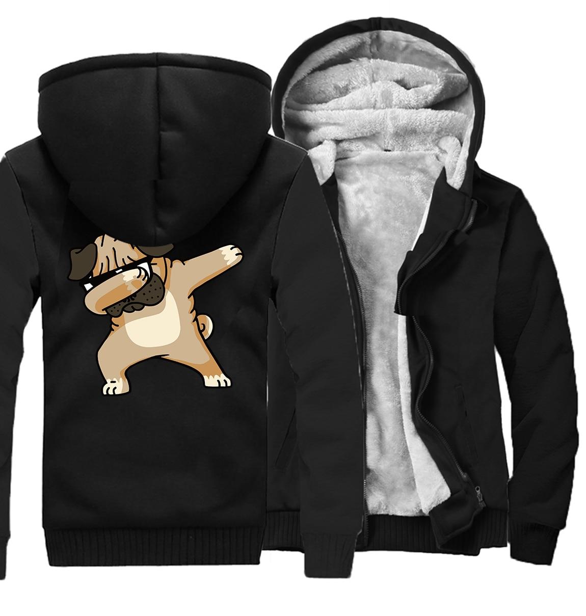 casual wool liner keep warm sweatshirts Novelty Dabbing Pug hooded jackets Men hip hop sportswear tracksuits 2019 winter hoodies in Hoodies amp Sweatshirts from Men 39 s Clothing