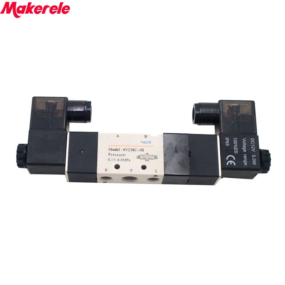 1/4 3 Position 5 Port AirTAC Air Solenoid Valves 4V230C-08 Pneumatic Control Valve 12V 24V 220V Makerele 4v230c 08 airtac dc24v 3 position 5 way air solenoid valve pneumatic components