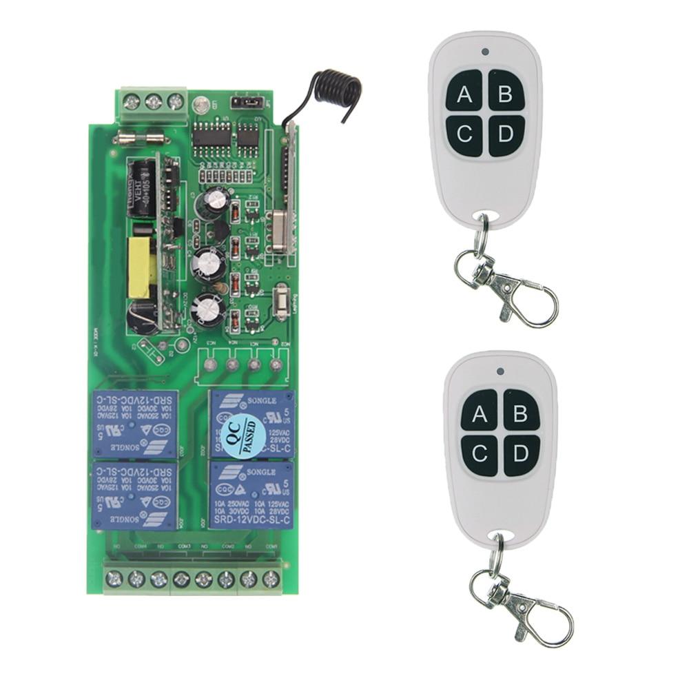315 433.92 MHz Universal Wireless Remote Control Switch 85V-265V 110V 220V 4CH 4 CH Relay Receiver Module RF Remote Transmitter dc24v 8ch rf wireless remote control switch 8 receiver