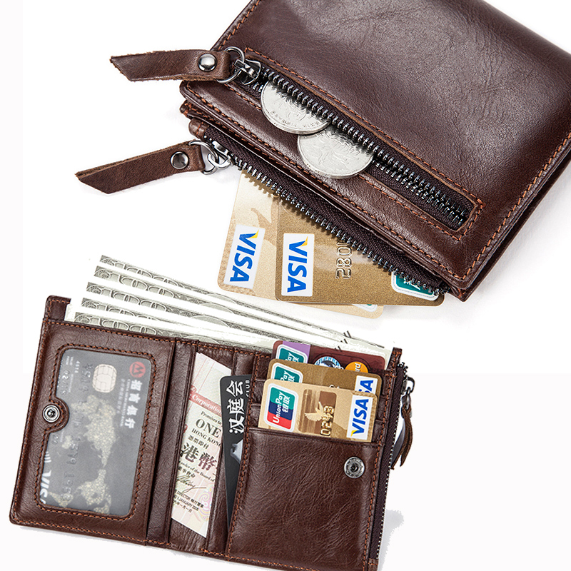MVA Genuine Leather Wallets with Coin Pocket Coin Purse Men Leather Wallet for Credit Card Holder Money Wallet Male Cardholder