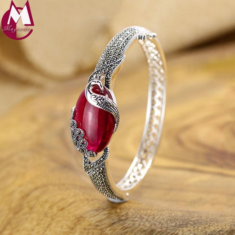 Elegant Peacock Design Big Red Jade Bangle Ethnic Animal Jewelry Hollow 925 Sterling Silver Bracelet For Women Wedding Gift SB72