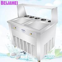 BEIJAMEI Hot Sale Fry Ice Cream Rolls Maker Double Square Plate Fry Frozen Yogurt Making Machine