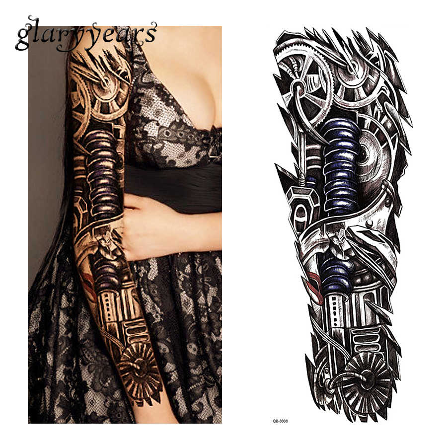 86a04015f 1 Piece Tattoo Sticker Robot Machine Gear Pattern Temporary Full Flower Arm  Body Art Women Men