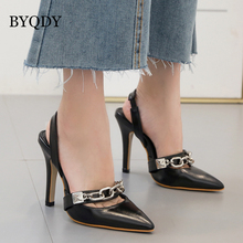BYQDY Elegant Woman Heels Pumps Metallic Chain Point Toe Shoes Stiletto Metal Decoration Slingbacks Dress