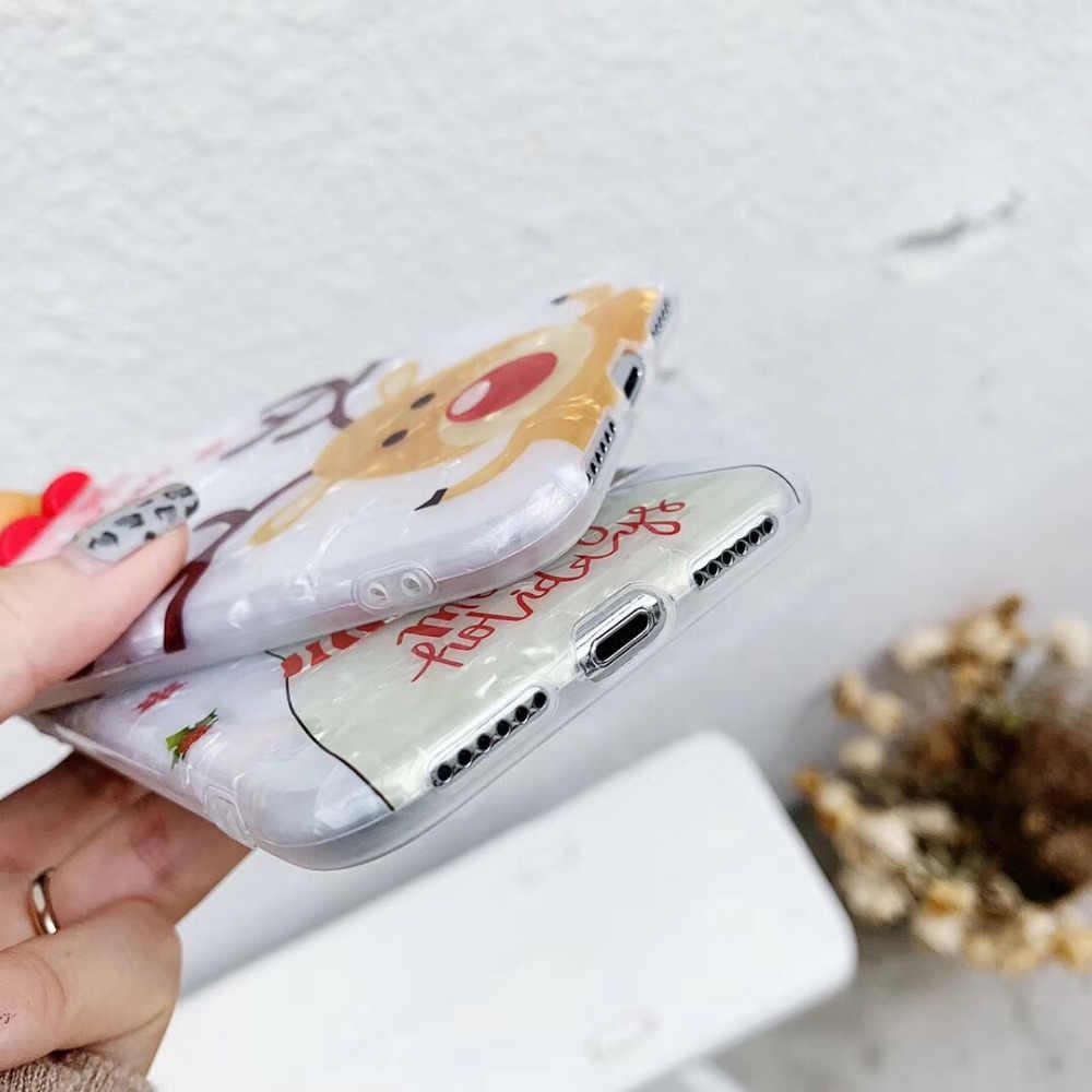 Belle Noël 3D Poupée Cerf Coque motif Dessin Animé Téléphone étui pour iphone 11 X XS XR XS Max 6 6S 7 8 Plus Housse de PROTECTION Arrière en TPU