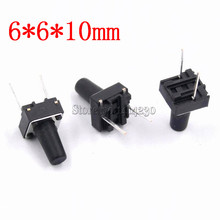 100Pcs Middle 2 pins 6*6*10 mm Switch Tactile Push Button Switches 6x6x10mm