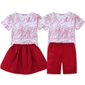 Big Sister Outfits Brother Sets Family Look family matching clothes Summer Print T-shirt+Skirt short kids Baby family clothing