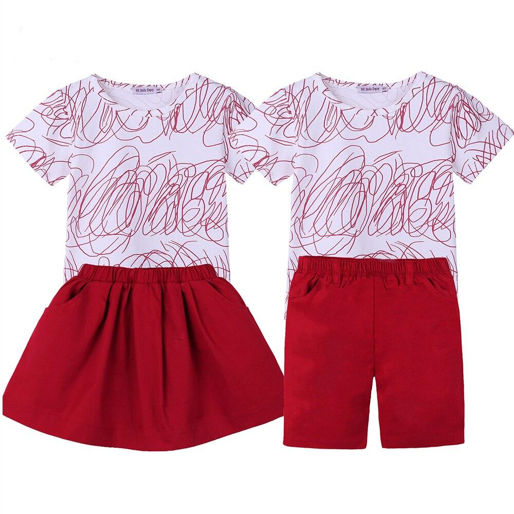 Trajes de hermana mayor conjuntos de hermano ropa familiar de apariencia familiar estampado de verano camiseta + Falda corta niños Bebé Ropa familiar