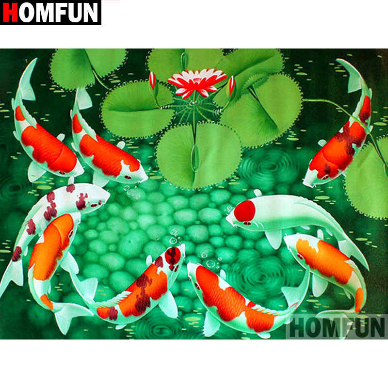 """HOMFUN полная квадратная/круглая дрель 5D DIY Алмазная картина """"Рыбка лист лотоса"""" 3D Алмазная вышивка крестиком домашний декор A19131"""