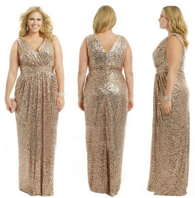 Gold Wedding Prom Long Gowns Plus Size Elegant Champagne Rose Gold ...