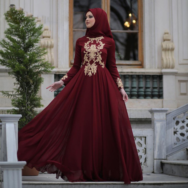 38fc66d9130 Modest Arabic Muslim Evening Dresses Burgundy A-line Chiffon Gold Appliqued Evening  Prom Dress Hijab Formal Party Gown MM74
