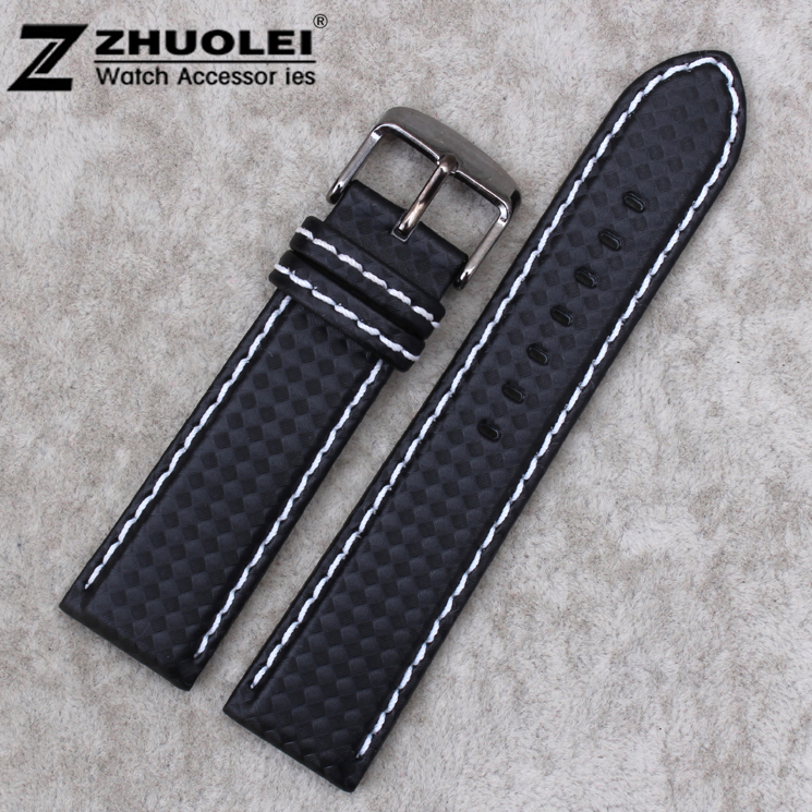 18mm 20mm 21mm 22mm 23mm 24mm Premium Carbon Fiber Leather Lined Strap BLACK With White Stitch Watch Band владимир стрельников опасные тропы рядовой срочной службы