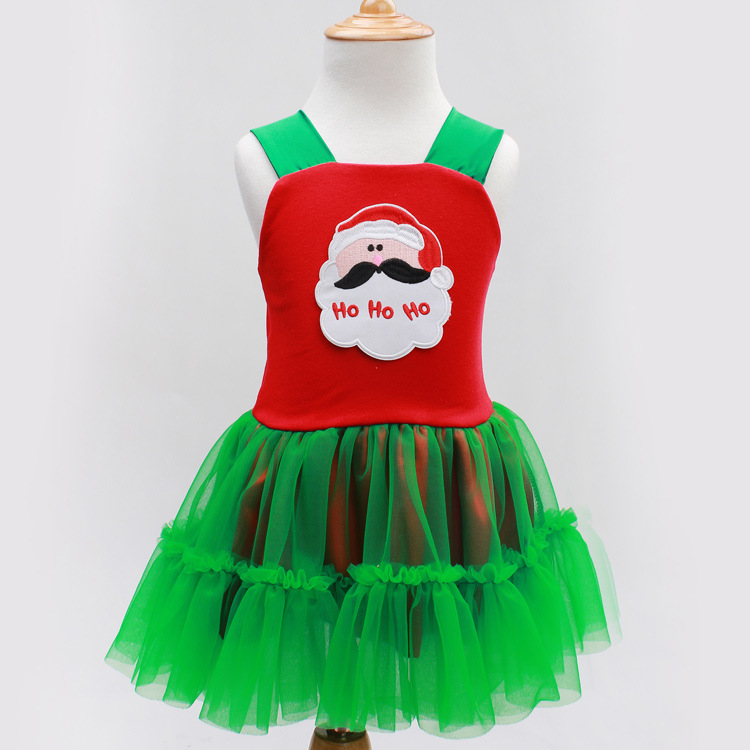 Xmas Costume Green Pettiskirt for Little Girl's Clothing Christmas Santa Claus Print Red Tank Top with Green Ruffles Tutu Dress my 1st christmas rwg lighting red top xmas dot waist girl pettiskirt set 1 8year