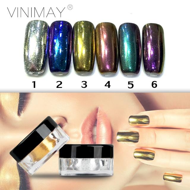 Vinimay 6 Pcs Set Mirror Nails Glitter Powder Shinning Golden Uv Gel Chrome