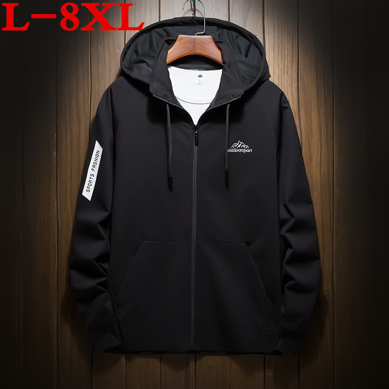 2018 big size 8XL Jacket Spring Autumn Men hooded Coat male Casual Style Waterproof Lightweight Windbreak Men Clothes masculina
