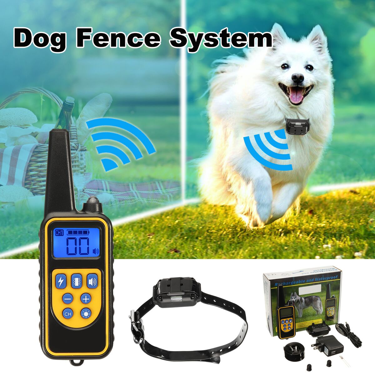 1000m Electric Dog Training Collar Pet Remote Control Waterproof Rechargeable LCD Display for All Size Shock Vibration Sound1000m Electric Dog Training Collar Pet Remote Control Waterproof Rechargeable LCD Display for All Size Shock Vibration Sound