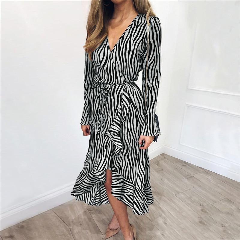 Long Dresses 2019 Women Zebra Print Beach Bohemian Maxi Dress Casual Long Sleeve V Neck Ruffles