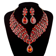 Statement necklace bridal wedding jewelry sets Marquise cubic crystal bule zircon color rhinestone jewelry set For party gift
