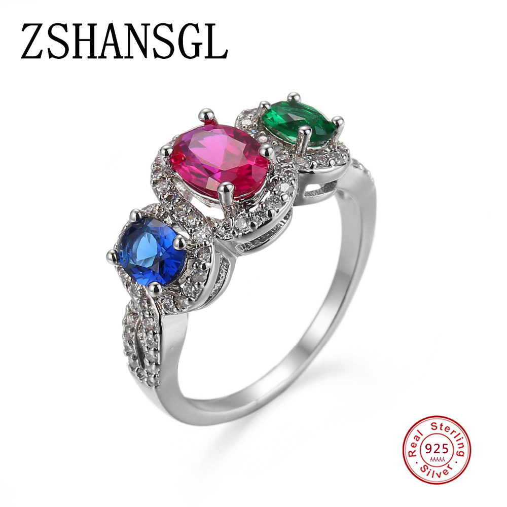 Rings Fashion Women Jewelry Red Gemstones Wedding Engagement Party Ring Size:6