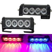 2PCS 4 LED Car Strobe Warning Light Truck Motorcycle 12V LED Bar Daytime Running Lights Red Blue White Police Emergency Light
