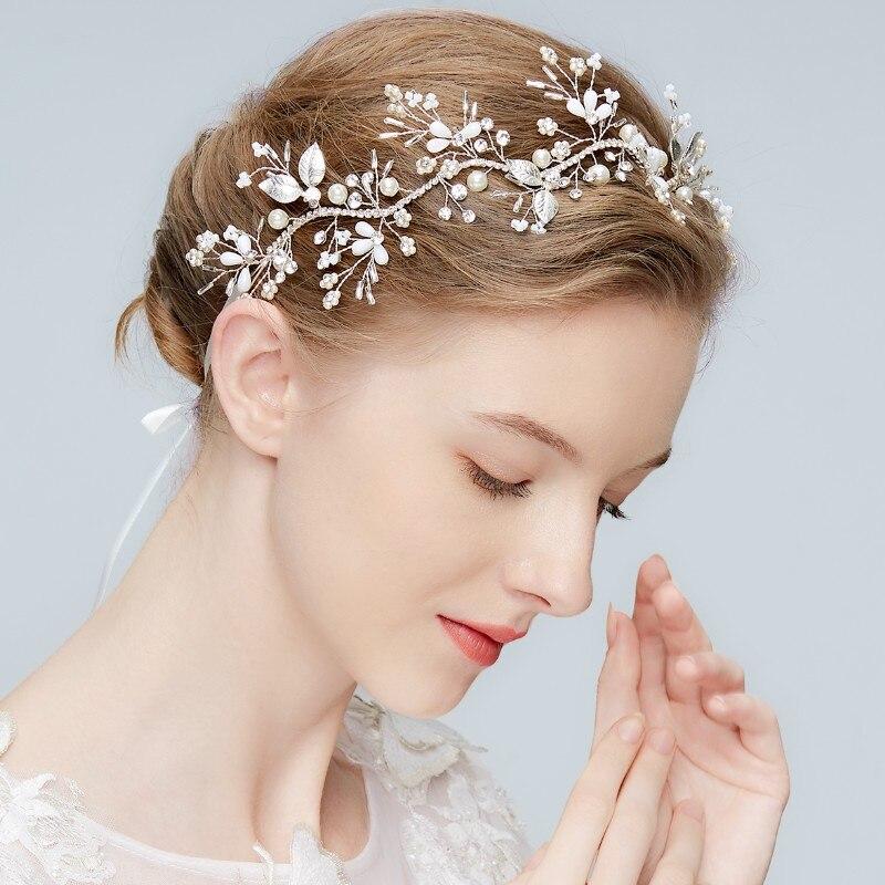 Jonnafe Delicate Rhinestone Women Head Chain Silver Leaf Bridal Tiara Headband Pearls Wedding Crown Hair Accessories delicate rhinestone leaf shape cuff bracelet for women