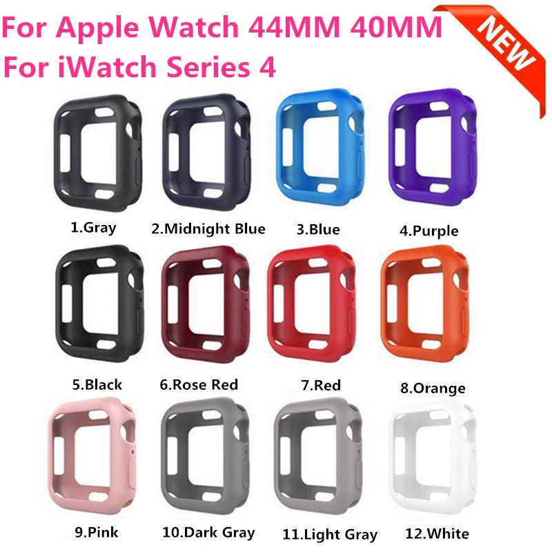 цена Outdoor Sport Thin Light TPU Bumper Cover Case for iWatch Series 4 44MM 40MM Protective Frame for Apple Watch Sereis 4 Band