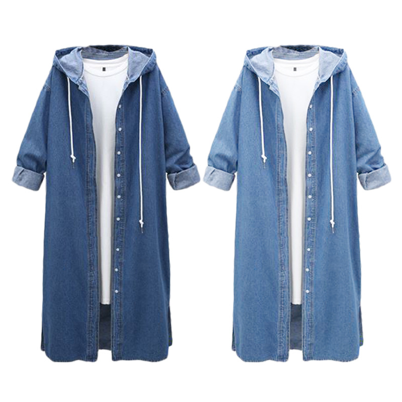 2018 Autumn New European Large Size Button Cardigan Hooded Denim Dress Jacket Female Long Windbreaker Casual Street Sukienka