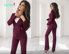 Professional V-shaped Collar Jacket with Sashe and Horn Trouser 2-Piece Suit