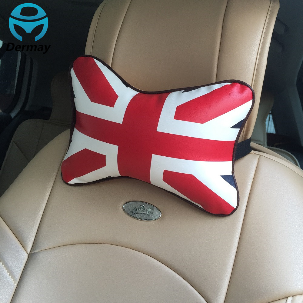 New 2pcs car neck pillow headrest union flag pattern red with white pu leather auto seat