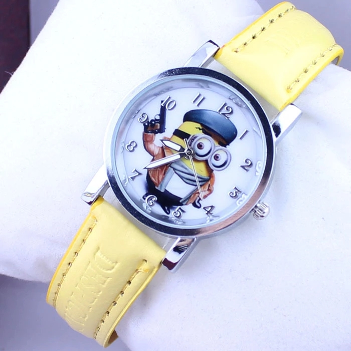 New Cartoon Student Boy And Girl Child Quartz Watch Despicable Me Stole Dad Minions