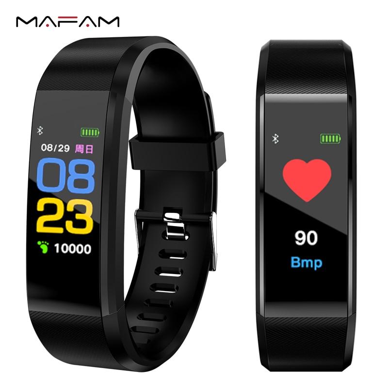MAFAM Novas Mulheres Dos Homens do Relógio da Frequência Cardíaca Monitor de Pressão Arterial Inteligente Rastreador De Fitness Esporte Smartwatch Relógio para ios android + CAIXA