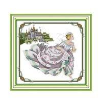 Joy Sunday Castle Building Continental Stitch Kit Cinderella Characters Image Handmade diy Cross Sewing Playful Crafts