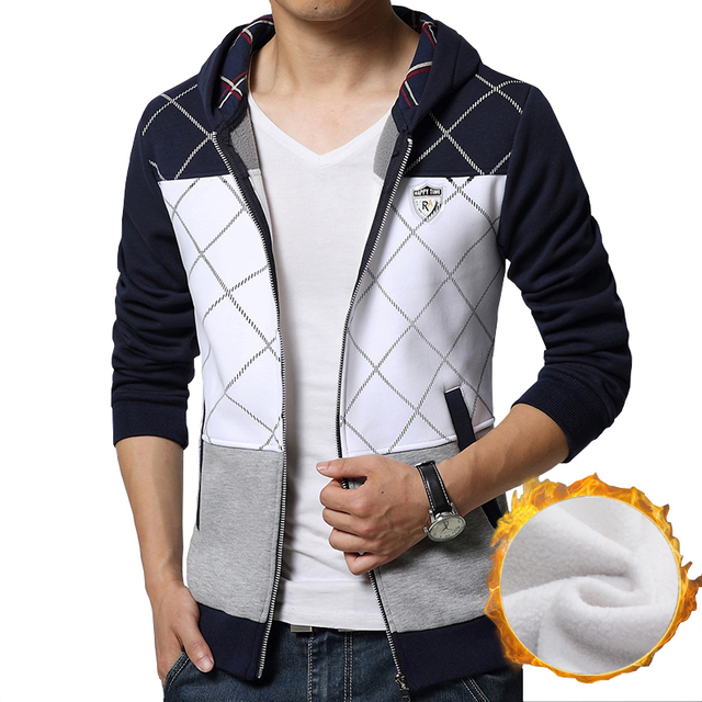 2016 New design atmosphere stitching Thickening Men Hoodies fashion badge decoration hoodies casual Slim hooded Sweatshirt M-5XL