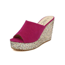 цена на Women's Shoes on The Platform Summer Open Toe Women Wedge Sandals Slippers High Heel Thick Bottom Sponge Slides Women Slippers