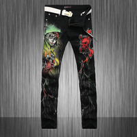 New Cool Stylish Fashion Jeans Men Skinny Black Slim Fit Mens Print Jeans Pant Designers Gothic