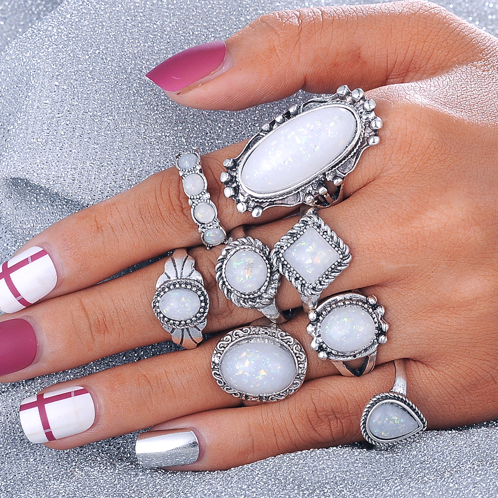 Beagloer Vintage Opal Knuckle Flower Rings Set For Women Girl Antique Silver Color Big Stone Rings Statement Jewelry Gift