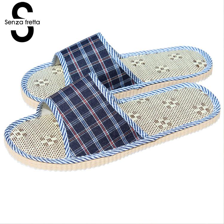 Senza Fretta 2018 New Lover Slippers Women Men Home Slippers Plaid Linen Home Slippers Indoor Bedroom Sandals Couple Floor Shoes women floral home slippers cartoon flower home shoes non slip soft hemp slippers indoor bedroom loves couple floor shoes
