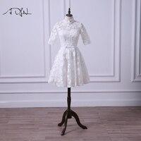 ADLN Винтаж кружевное короткое платье для свадебного торжества, с высоким воротником, свадебное, с рукавом до локтя нарядное платье цвета сло