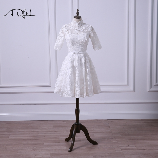 Adln Vintage Lace Short Wedding Reception Dress High Collar Half