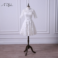 ADLN Vintage Lace Short Wedding Reception Dress High Collar Half Sleeve Bridal Gown Ivory/Champagne/Red Color