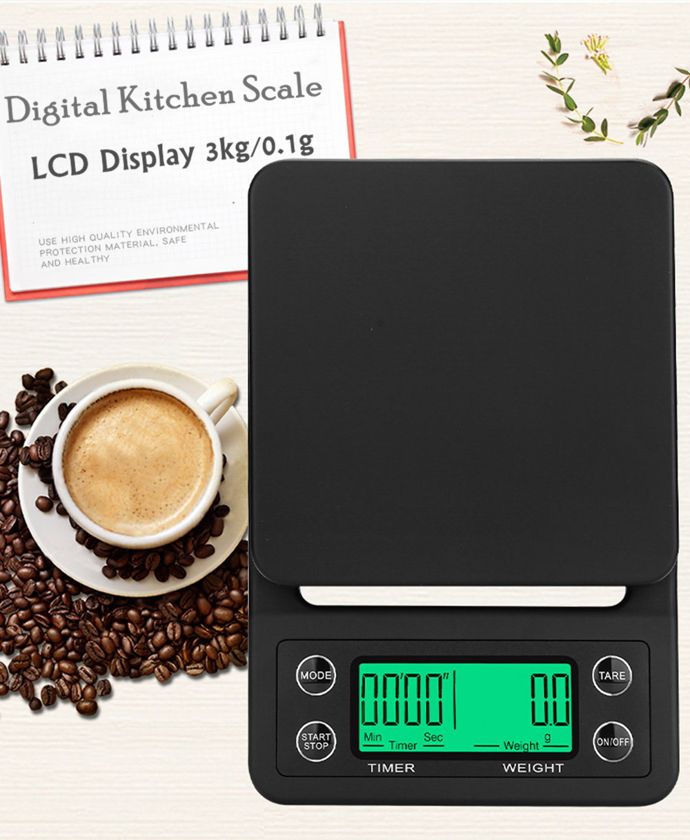3kg/0.1g Mini Digital Kitchen Scale Food Coffee Weighing Scale & Timer With Back-Lit LCD Display For Baking Cooking Tools