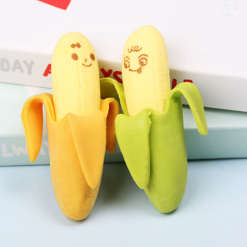 2PCS Cute Banana-Shaped Pencil Eraser Rubber Novelty Kids School Stationery Gift