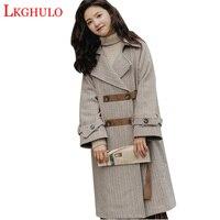 LKGHULO Women Wool Coat Plaid Women Loose Long Double Breasted Woolen Coat Winter Coat Woolen Overcoat 2018 Coats W452
